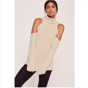 Missguided Cold Shoulder Turtleneck Chunky Sweater